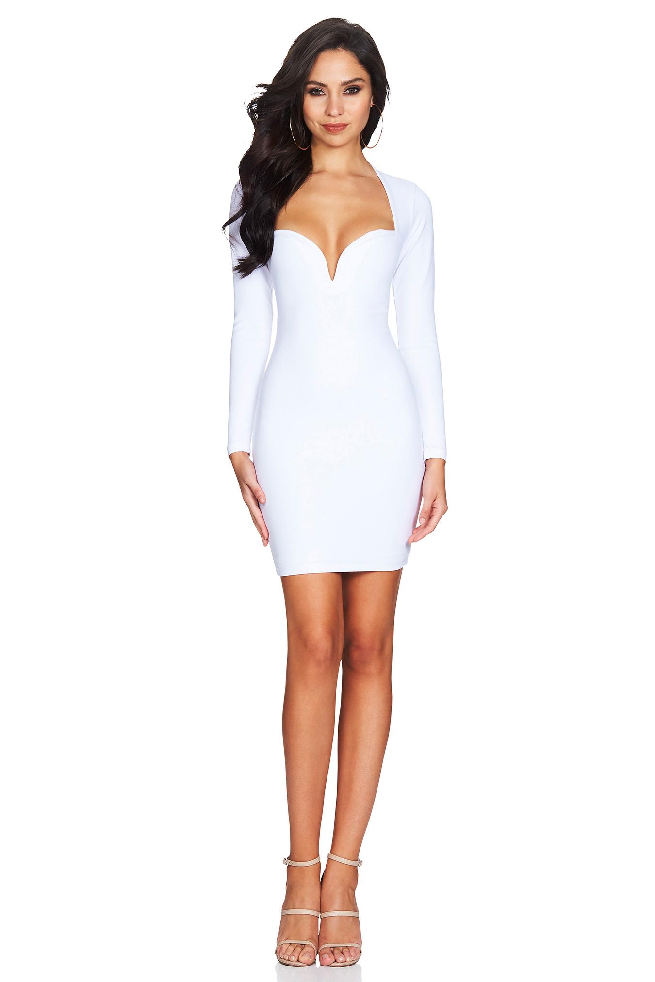White Madonna Long Sleeve Mini : Buy Designer Dresses Online at Nookie