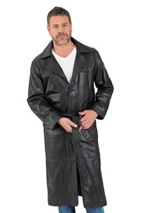 buy the latest Long Leather Belted Mens Coat online