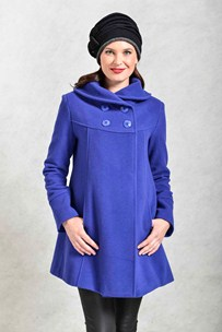 buy the latest 3/4 Db Shawl Collar Swing Coat With Inverted Back Pleat. online
