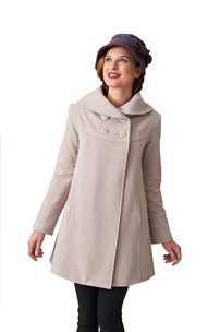 buy the latest 3/4 Double Breasted Shawl Collar Swing Coat With Inverted Back Pleat. Fully Lined online