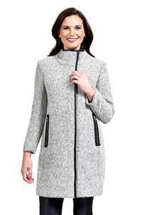 buy the latest High Neck Tweed Coat With Pu Trim online