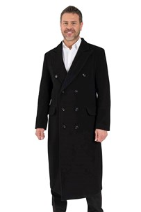buy the latest Double Breasted High Fashion Long Tailored Coat With Peak Lapel And Back Split.  Fully Lined  online