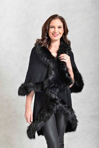 buy the latest Elegant Ruana With Black Fur Trim online