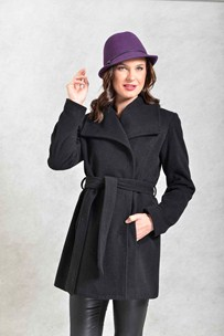 buy the latest 3/4 Belted Wrap Coat With Square  Collar  online
