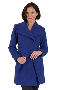 buy the latest 3/4 Belted Wrap Coat With Square  Collar.  Fully Lined  online