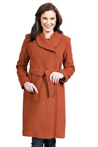 buy the latest Shawl Collar 7/8 Length Coat With Concealed Buttons And Removable Belt.  Fully Lined online