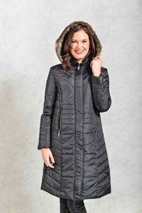 buy the latest 7/8 Padded Parka With Detachable Fur Trimmed Hood online