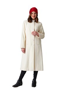 buy the latest High Button 2 Way Collar Fitted Long Coat.  Fully Lined online