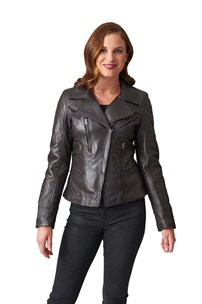 buy the latest Fashion Hip Length Leather Jacket With Revere Collar And Zip Pockets online