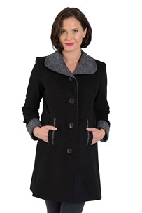 buy the latest Single Breasted 7/8 Coat With Contrast Trim On Collar, Pockets And Fold Back Sleeves Cuff.  Fully Lined online