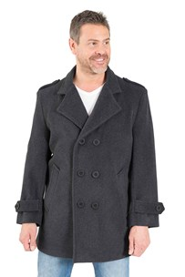 buy the latest 3/4 Db Military Pea Coat With Epaulets And Tab On Sleeves.  Fully Lined online