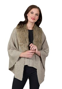 buy the latest Woollen Ruana With Fur Collar online