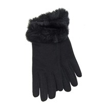 buy the latest Leather Ladies Gloves With Faux Fur Cuff online