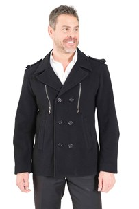buy the latest Fitted Military Pea Coat With Zip Pockets online