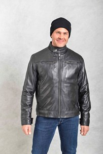 buy the latest Mens Leather Jacket With Chinese Collar online