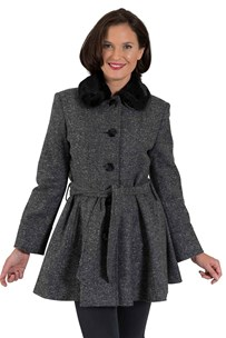 buy the latest Single Breasted Fitted Belted Jacket With Flaired Skirt And Detachable Faux Fur Collar.  Fully Lined online