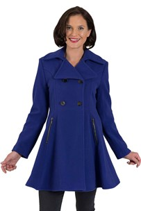 buy the latest Db Flared Skirt Coat With Gun Metal Buttons & Zip Pockets  online