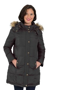 buy the latest Detailed Stitched Down Jacket With Detachable Hood And Fur Trim   Rrp  $249 online