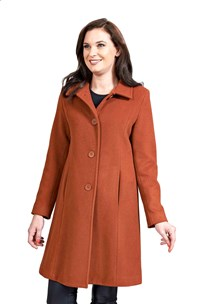 buy the latest 7/8 Single Breasted, 7/8 Length Jacket,  Button To Neck, With Back Split.  Fitted Style. Fully Lined. online