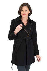 buy the latest 3/4 Belted Fashion Coat With Side Zip And 2 Way Collar.  Fully Lined online