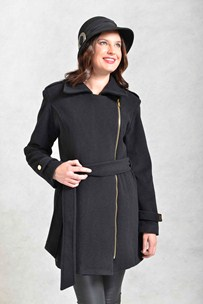 buy the latest 3/4 Belted Coat With 2 Way Collar And Side Zip online