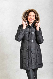 buy the latest Fashion Parka, With Elastic Waist And Fur Trimmed Hood online