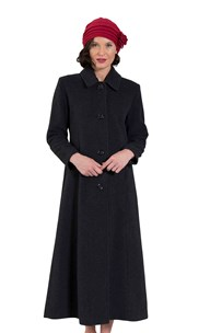 buy the latest Single Breasted Gently Tailored Coat Button To Neck Or Open To Revre With Back Pleat.  Fully Lined online