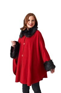 buy the latest One Size Fill All Elegant Cape With Fur Trim On Collar And Cuff.   online