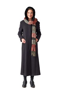 buy the latest Long Fitted Coat Concealed Buttons Fur Lined Hood online