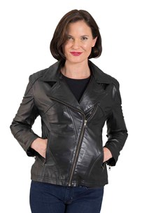 buy the latest Fitted Bikie Leather Jacket With Revere And Diagnal Zip online