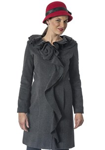 buy the latest 7/8 Ruffle Collar Coat With Detachable Flower online