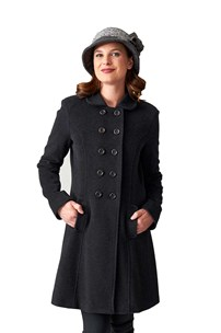 buy the latest Italian Style Double Breasted 3/4 Fitted Coat Pleated Back online