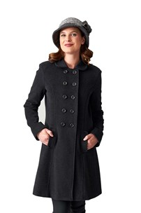 buy the latest Italian Style Double Breasted Finely Tailored 3/4 Fitted Coat With Pleated Back.  Fully Lined online