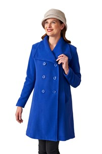 buy the latest Double Breasted Square Collar, 7/8 Coat With Inverted Back Pleat.  Fully Lined online