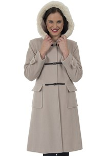 buy the latest Knee Length Duffel Style Coat With Metal Magnetic Closure And Fur Trimmed Hood.  Fully Lined online