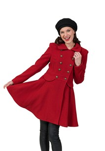 buy the latest Double Breasted Military Coat With Flared Skirt.  Fully Lined   online
