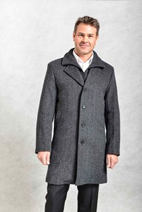 buy the latest Knee Length Herringbone Coat With Zip Out Double Collar online