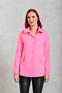buy the latest Lightweight Microfiber Jacket With Spotted Lining, Button Closure And Detachable Hood online