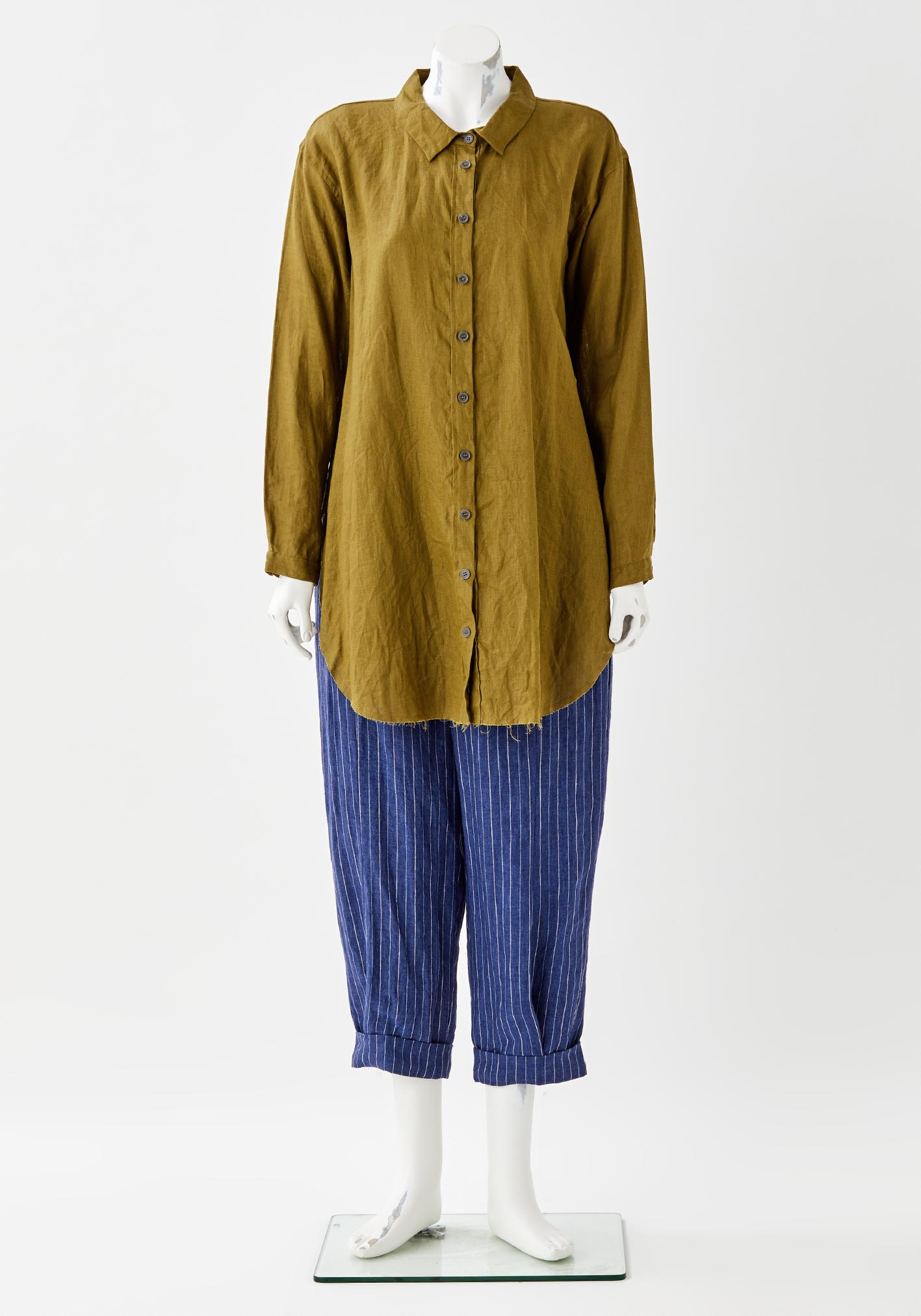 buy the latest Curve Raw Edge Long Drawcord Shirt Linen online