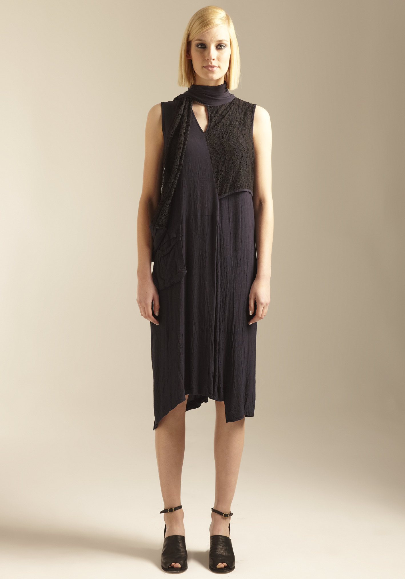 buy the latest Lace Overlay Dress With Neck Scarf online